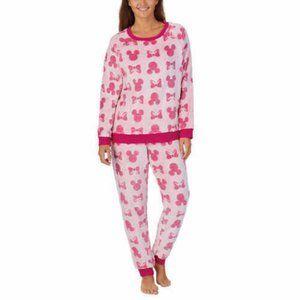 Disney Mickey Mouse Women's Cozy Pink 2pc Pajama